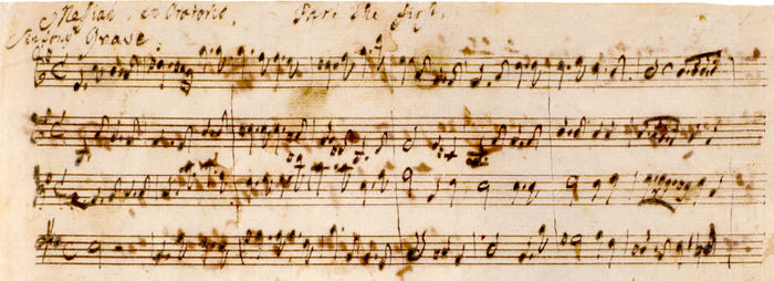 Opening bars of Messiah in Handel's autograph (British Library).